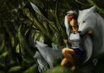 Обои San / Сан сидит рядом с богиней волчицей Moro / Моро. Их сопровождают молодые волки Ичи и Ни арт аниме Princess Mononoke / Принцесса Мононоке / Mononoke Hime