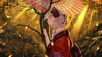 Обои Tomoe Gozen / Томое Годзен с зонтом в руке стоит возле дерева, персонаж из мобильной онлайн-игры Fate / Grand Order, art by baseness