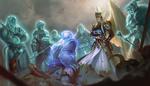 Обои Дух убитого Kratos / Кратоса находится перед богами в Valhalla / Вальхалле, арт к игре God of War / Бог войны, by Iqnatius Budi