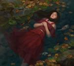 Обои Девушка с закрытыми глазами лежит в ручье с рыбами, by Iqnatius Budi