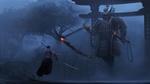 Обои Самурай сражается с призраком в доспехах в тумане перед воротами тории, by Paul Nong