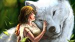 Обои Принцесса Мононокэ San / Сан и богиня-волчица Moro / Моро арт аниме Princess Mononoke / Принцесса Мононоке / Mononoke Hime