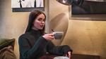 Обои Девушка с чашкой в руке сидит за столом, by iCONA pICTURA