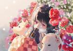 Обои Девочка с цветами камелии в волосах и две собаки