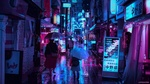 Обои Люди на вечерней улице города