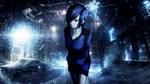 Обои Kirishima Touka / Киришима Тока идет по ночной улице сквозь метель аниме Tokyo Ghoul / Токийский Гуль