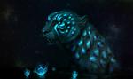 Обои Фантастический тигр на темном фоне