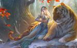 Обои Девушка сидит рядом с тигром, by bi taiwei