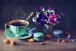 Обои Чашка горячего чая, вазочка с цветами и макаруны на столе, by Anastasia Soloviova