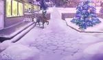 Обои Рождественский олень возле дома, рядом стоит наряженная елочка, рядом с ней кот, by SHAKUMl