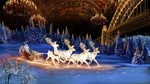Обои Дед Мороз в санях мчится на светящихся оленях по снегу, вдоль мерцающих елей, на фоне расписанного потолка в зале и моста