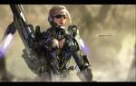 Обои Девушка Undine / Ундина-солдат будущего стоит на фоне бури в пустыне, by Clare Wong