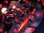 Обои Lancer Scathach / Лансер / Копейщик / Скатах на фоне звездного неба и полной луны из онлайн RPG игры Fate / Grand Order