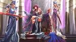Обои Scathach / Скатах восседает на троне. По ее приказу один из стражей дарует герою Cu Chulainn / Кухулину проклятое копье Gae Bolg / Гаэ Болг арт по игре Fate / Grand Order