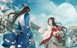 Обои Парень с девушкой в китайских одеждах встретились у цветущей вишни