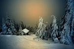Обои Восход над зимними деревьями и домиком, by Robert Didierjean