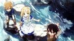 Обои Kirito / Кирито, Eugeo / Юджио и Alice / Алиса играют около бурной речки арт аниме Sword Art Online Alicization / Мастера Меча Онлайн Алисизация