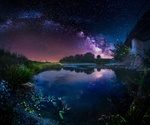 Обои Речка летней ночью на фоне млечного пути, фотограф Кристиян Младенов