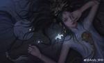Обои Девушка со слезами на глазах лежит на полу, by Andy