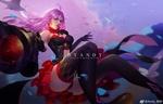 Обои Голубоглазая девушка с розовыми волосами стреляет из оружия в прыжке, by Andy