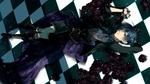 Обои Ciel Phantomhive / Сиэль Фантомхайв лежит на шахматном полу в лепестках черных роз из аниме Kuroshitsuji / Темный дворецкий