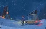 Обои Девушка выходит из машины с покупками и идет домой, art by IGOR KIRICHENKO