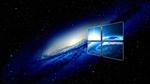 Обои Логотип OC Windows с отражением планеты на фоне галактики в космосе