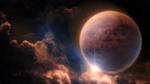 Обои Планета в космосе на фоне облаков