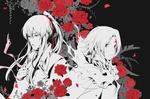 Обои Аллен Уолкер / Allen Walker и Kanda Yu / Канда Юу среди алых роз из аниме Ди Грей - Мен / D. Gray-man