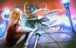 Обои Yuuki Asuna / Юки Асуна и Kirigaya Kazuto / Киригая Кадзуто сражаются с боссом из аниме Sword Art Online / Мастера Меча Онлайн