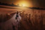 Обои Модель Julia Ringl с чемоданом и небольшим плакатом с надписью Take Me to Paradise / Возьми меня в рай в руках идет по дороге, by Stefan Hаusler