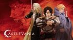 Обои Вампир Alucard Adrian Farenheights Tepes, Trevor Belmont и Gabriel Belmont на фоне лица Дракулы / Dracula из аниме Castlevania, by Ayami Kojima