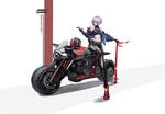 Обои Девушка с сигарой и битой присела на мотоцикл (locomotive sister), by qu zhao