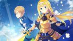 Обои Alice / Алиса и Eugeo / Юджио из аниме Sword Art Online Alicization / Мастера Меча Онлайн Алисизация