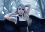 Обои Девушка черный ангел