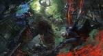 Обои Битва воинов с демоном, арт к игре Dantes Inferno, by San TEZ