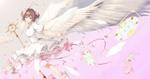 Обои Сакура Киномото / Sakura Kinomoto с жезлом и белыми крыльями из аниме Сакура собирательница карт / Cardcaptor Sakura