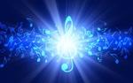 Обои Из скрипичного ключа исходят лучи света и рассыпаются ноты на синем фоне