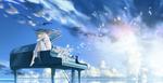 Обои Девушка сидит на пианино, стоящего у воды