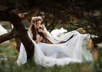 Обои Девушка в длинном белом платье, с венком на голове сидит на дереве, by Kyle Cong