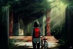 Обои Девушка с рюкзаком за спиной стоит к нам спиной с велосипедом, by Nekuro3
