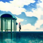 Обои Девушка стоит у остановки, by nekuro3