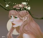 Обои Девушка-эльф стоит у цветущей ветки, by s i salome dcsddcr
