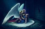 Обои Мужчина в доспехах и с крыльями держит девушку-ангела