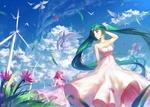 Обои Vocaloid Megurine Luka & Hatsune Miku / Вокалоид Мегурине Лука и Хатсуне Мику в розовых платьях
