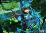 Обои Девушка с голубыми волосами из игры My Hero Academia / Моя геройская академия, by Xiang Liu