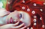 Обои Девушка с ромашками на рыжих волосах, by ahmed karam