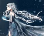 Обои Vocaloid Hatsune Miku / Вокалоид Хатсуне Мику с большой снежинкой в руке