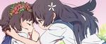 Обои Руико Сатэн / ruiko saten пытается поцеловать Уихару Казари / uiharu kazari из аниме Некий научный рэйлган / to aru kagaku no railgun