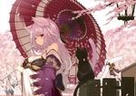 Обои Нэко-девушка с двумя хвостиками в кимоно под зонтом на фоне цветущей сакуры